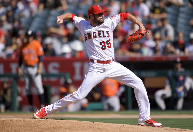 Los Angeles Angels starting pitcher Nick Tropeano throws during the first inning of the team's baseball game against the Houston Astros on Saturday, July 21, 2018, in Anaheim, Calif. (AP Photo/Mark J. Terrill)