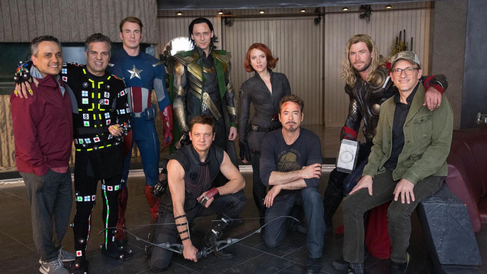 The Russos recreate 2012's 'The Avengers' on the set of 'Avengers: Endgame'. (Credit: Twitter/Russo Brothers)