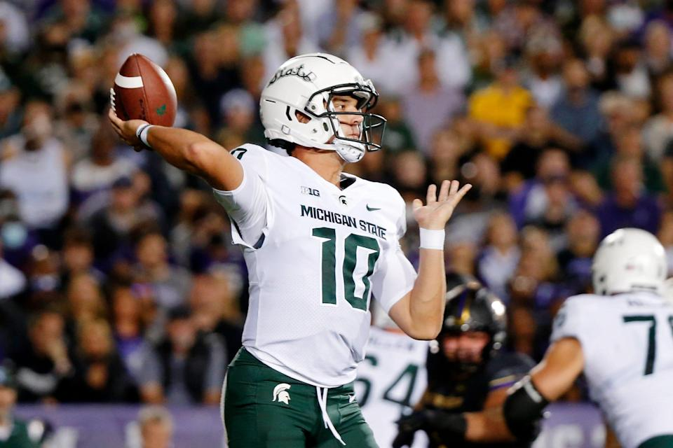 Michigan State quarterback Payton Thorne passes the ball against Northwestern during the first quarter on Friday, Sept. 3, 2021, in Evanston, Illinois.