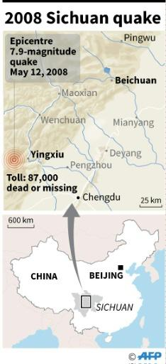 Map showing the region of the 2008 Sichuan quake in China