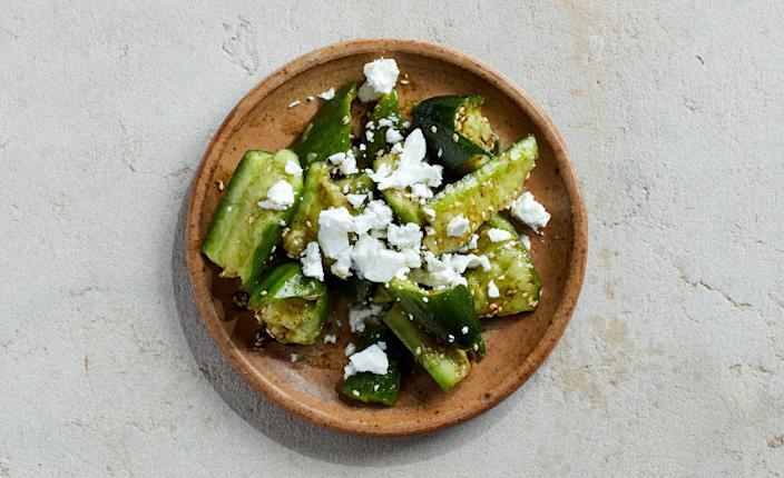"""<a href=""""https://www.bonappetit.com/recipe/smashed-cucumber-salad-with-zaatar-and-feta?mbid=synd_yahoo_rss"""" rel=""""nofollow noopener"""" target=""""_blank"""" data-ylk=""""slk:See recipe."""" class=""""link rapid-noclick-resp"""">See recipe.</a>"""
