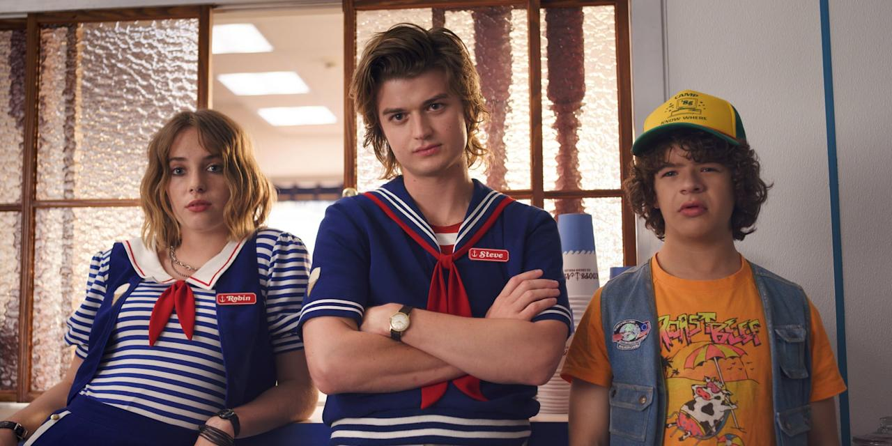 <ul> <li> <strong>What to wear:</strong> Unless you want to be a total dingus, then you should definitely dress up as Robin from <strong>Stranger Things</strong>. Her Scoops Ahoy outfit is the most notable, so we advise wearing a blue-and-white striped shirt with a navy vest and white collar on top. </li> </ul>