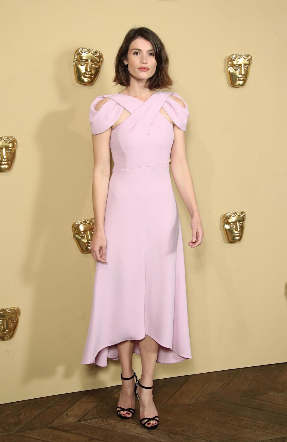 <p>The British star opted to wear a pale pink look by London Fashion Week designer Delpozo. </p>