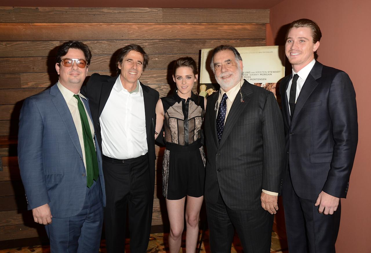 LOS ANGELES, CA - DECEMBER 06:  (L-R) Directors Roman Coppola, Walter Salles, actress Kristen Stewart, Director Francis Ford Coppola and actor Garrett Hedlund attend the private Los Angeles screening of 'On The Road' at Sundance Cinema on December 6, 2012 in Los Angeles, California.  (Photo by Jason Merritt/Getty Images)