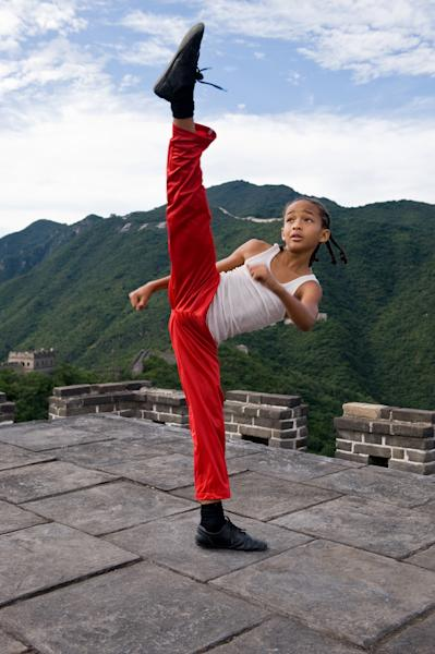 "FILE - In this publicity image released by Columbia Pictures, Jaden Smith as Dre is shown in ""The Karate Kid. ""The Amazing Spiderman,"" ""Taxi Driver"" and ""The Karate Kid"" are going big. The new, restored and rebooted films from Sony Pictures are among the content coming pre-loaded on a video player bundled with Sony's first ultra-high-definition television, a massive 84-inch set that retails for $24,999.99 and features nearly four times the resolution of typical high-definition TVs. (AP Photo/Columbia Pictures - Sony, Jasin Boland, File) NO SALES."
