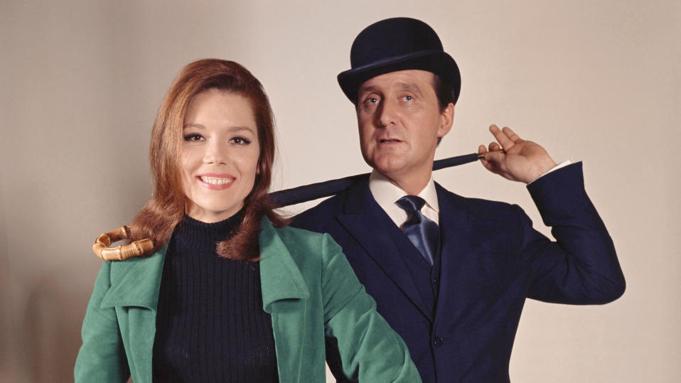 Diana Rigg and Patrick Macnee are Emma Peel and John Steed in 'The Avengers'. (Photo by ABC Weekend Television/Associated British Corporation/Sunset Boulevard/Corbis via Getty Images)