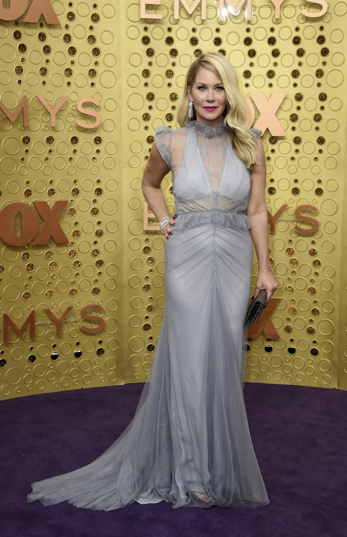 FILE - Christina Applegate arrives at the 71st Primetime Emmy Awards on Sept. 22, 2019, in Los Angeles. Applegate turns 49 on Nov. 25. (Photo by Jordan Strauss/Invision/AP, File)