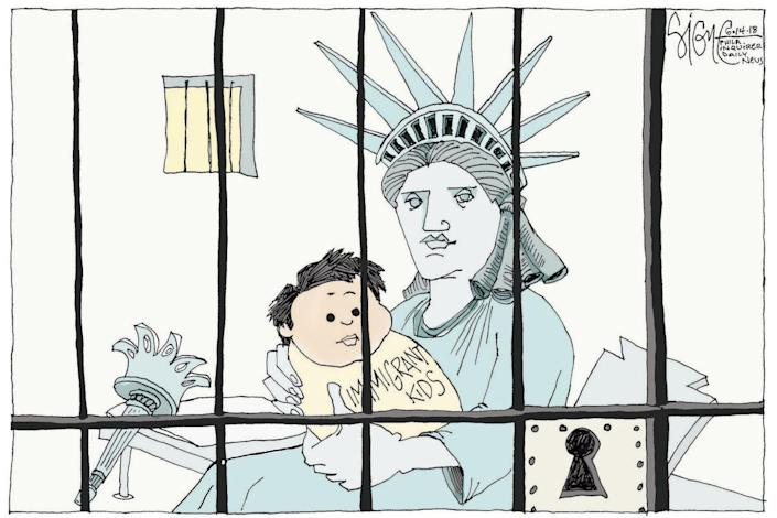 """<span class=""""icon icon--xs icon__camera"""">  </span> <span class=""""credit font--s-m upper black""""> <b>Signe Wilkinson</b> </span> <div class=""""caption space-half--right font--s-m gray--med db""""> Liberty in Lockup </div>"""