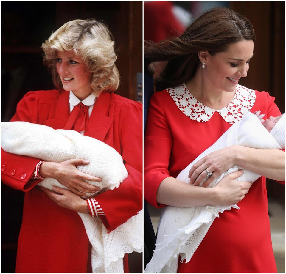 Princess Diana leaving St. Mary's Hospital with newborn Prince Harry in 1984; Kate Middleton leaving St. Mary's with newborn Prince Louis in 2018