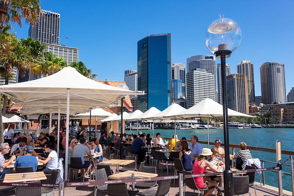 Image of Sydney harbourside dining before pandemic