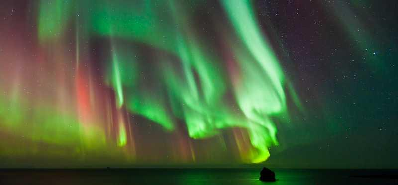 Northern lights in the sky.