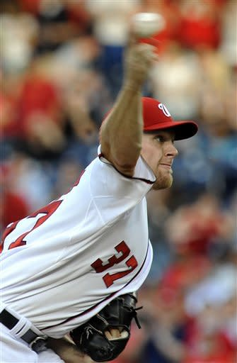 Washington Nationals starting pitcher Stephen Strasburg delivers to the Philadelphia Phillies during their baseball game at Nationals Park, Friday, May 4, 2012, in Washington. (AP Photo/Richard Lipski)