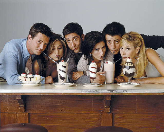 Matthew Perry as Chandler Bing, Jennifer Aniston as Rachel Green, David Schwimmer as Ross Geller, Courteney Cox as Monica Geller, Matt Le Blanc as Joey Tribbiani, Lisa Kudrow as Phoebe Buffay. (Photo: NBCUniversal)