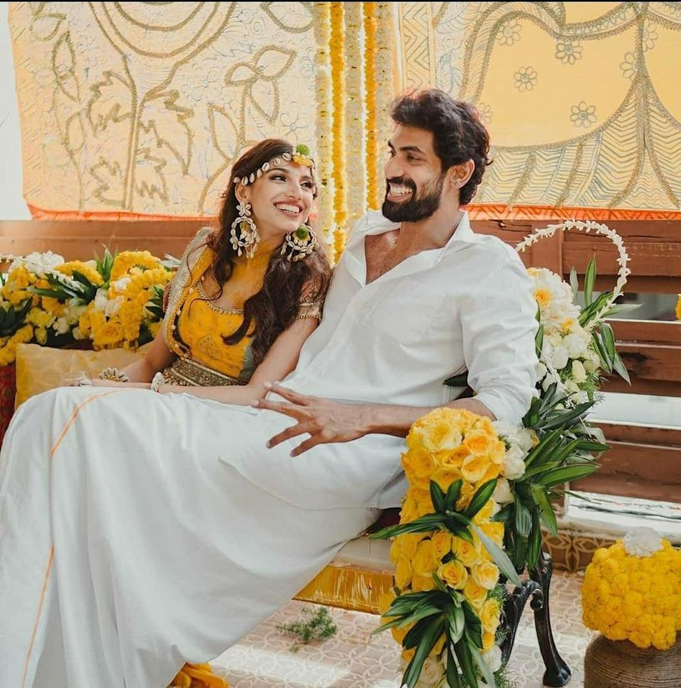 Rana repeated his look from the Roka ceremony in a crisp white shirt and a traditional dhoti.