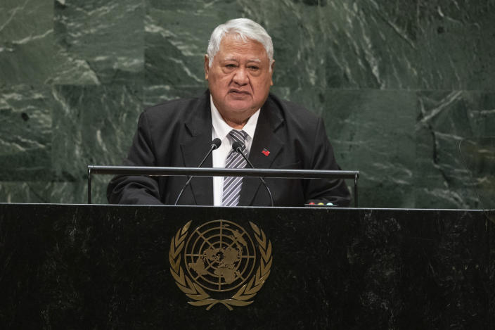 FILE - In this Sept. 29, 2019, file photo, Samoa's Prime Minister Tuilaepa Sailele Malielegaoi addresses the 74th session of the United Nations General Assembly at the U.N. headquarters in New York. Samoa appears set to get its first female leader after the nation's top court on Monday, May 17, 2021 reinstated the results of a knife-edge election from last month which appears to have ended what most people viewed as an attempt by Tuilaepa to cling to power. (AP Photo/Kevin Hagen, File)