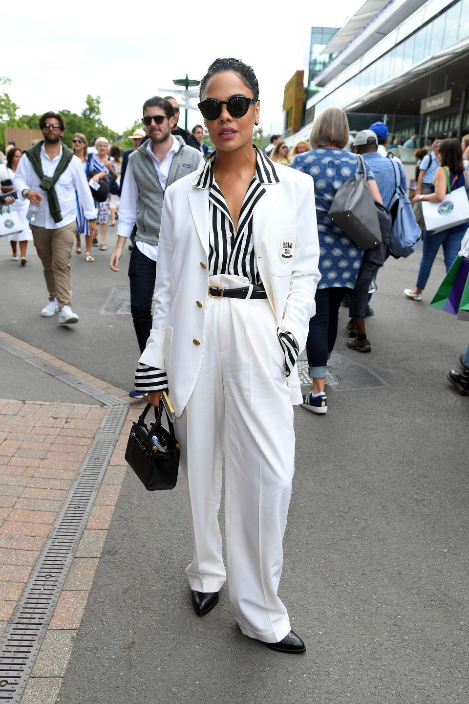 <p><strong>2019</strong> Tessa Thompson opted for slouchy monochrome Ralph Lauren tailoring.</p>