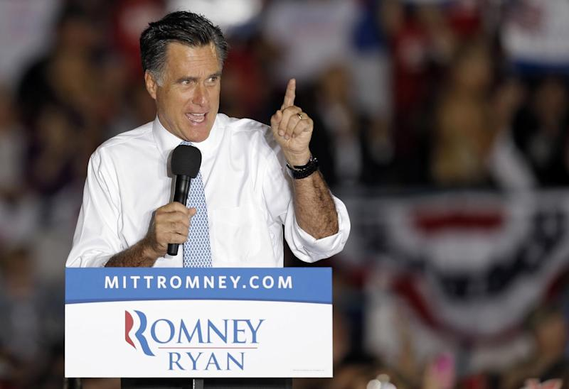 Republican presidential candidate and former Massachusetts Gov. Mitt Romney gestures during a campaign speech Saturday, Oct. 27, 2012, in Land O' Lakes, Fla. (AP Photo/Chris O'Meara)