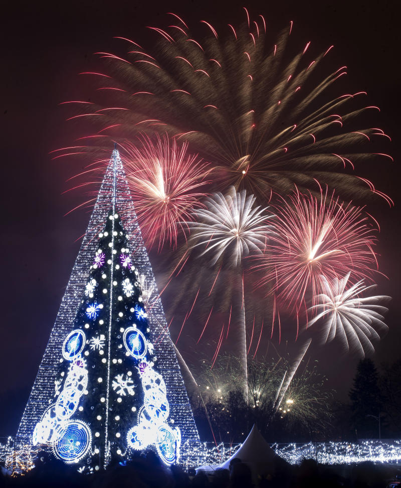 Fireworks light the sky above an illuminated Christmas tree at the Cathedral Square in Vilnius, Lithuania, shortly after midnight during the New Year's celebrations