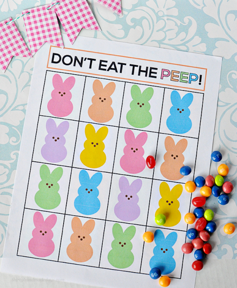"<p>Print out <a href=""http://www.thirtyhandmadedays.com/2014/03/easter-game/"" rel=""nofollow noopener"" target=""_blank"" data-ylk=""slk:this game board"" class=""link rapid-noclick-resp"">this game board</a> and disperse one piece of candy to each player. Have one person leave the room while each kid places their piece of candy on a square (one piece per square). Together as a group, choose one ""Peep,"" or a square with candy on it. Then have the child return to the room and eat the candy from the board, one square at a time, trying to avoid that one chosen Peep. When the child picks the one ""Peep,"" everyone yells ""Don't Eat the Peep!"" Continue until everyone's had a turn.</p><p><strong>Get complete instructions and free printable at <a href=""http://www.thirtyhandmadedays.com/2014/03/easter-game/"" rel=""nofollow noopener"" target=""_blank"" data-ylk=""slk:Thirty Homemade Days"" class=""link rapid-noclick-resp"">Thirty Homemade Days</a>.</strong></p>"
