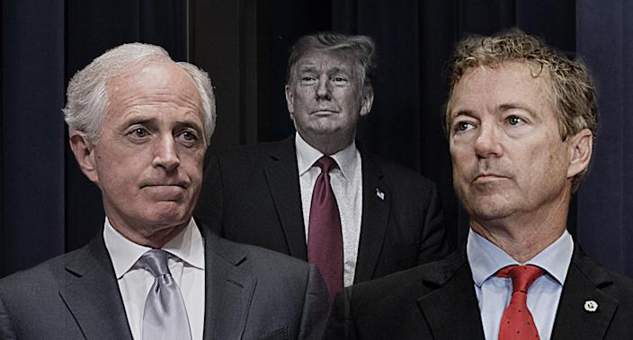 Sen. Bob Corker, President Trump and Sen. Rand Paul. (Photo illustration: Yahoo News; photos: AP [2], Zach Gibson/Bloomberg via Getty Images)