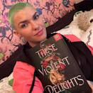 "Ruby Rose has been a fan of the buzz cut for quite some now — and this year, the actor experimented with different colors and patterns, just like our girl Halsey. Here, they obviously went for a neon green hue, but they've also tried rainbow, as well as <a href=""https://www.instagram.com/p/B_p8mXCJXi0/"" rel=""nofollow noopener"" target=""_blank"" data-ylk=""slk:hot pink and blue"" class=""link rapid-noclick-resp"">hot pink and blue</a>."