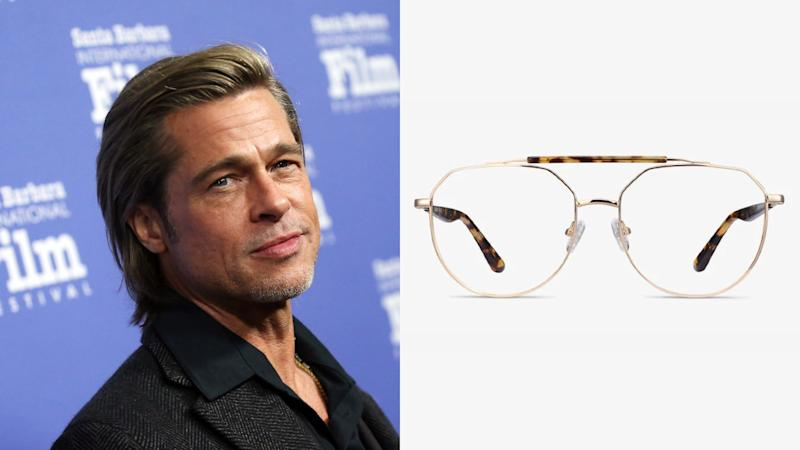 Brad Pitt, Coxon Aviator Golden Tortoise Eyeglasses. (Photo: Getty Images, EyeBuyDirect)