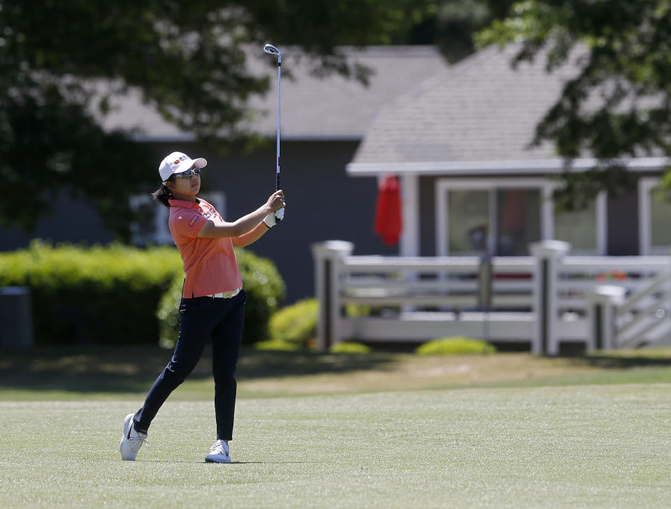 Wei-Ling Hsu hits from the fairway of the 11th hole during the second round of the LPGA Tour's PureSilk Championship golf tournament Friday, May 21, 2021, in Williamsburg, Va. (Kaitlin McKeown/The Virginian-Pilot via AP)