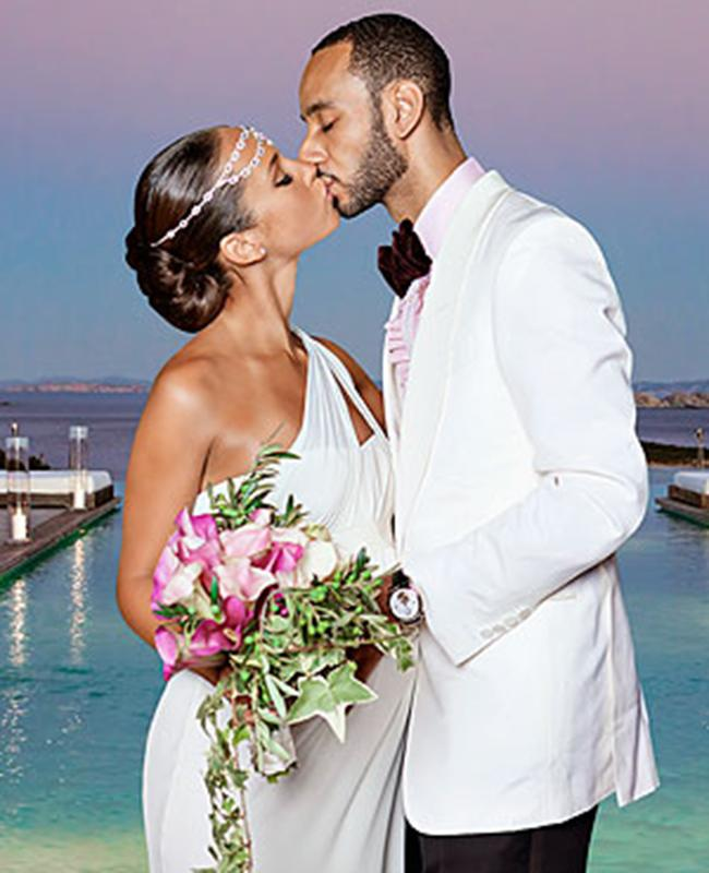 """<div class=""""caption-credit"""">Photo by: Stephanie Pistel</div><div class=""""caption-title""""></div><b>Alicia Keys</b> <br> Alicia Keys married producer Swizz Beatz in a Grecian-inspired Vera Wang wedding dress that showed off her growing bump in 2010. <br>"""