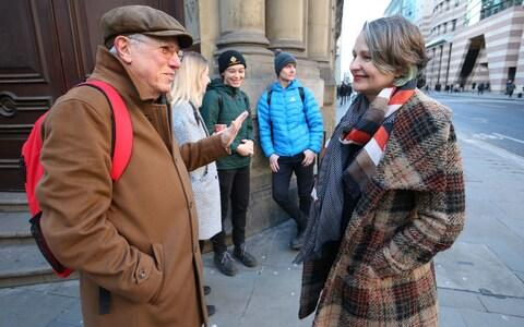 Sir David King with Claudia Fisher, 57, a business woman from Brighton - Credit: Jonathan Brady/PA