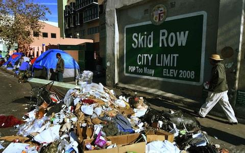 Tents and debris on Skid Row - Credit: MARK RALSTON/AFP/Getty Images