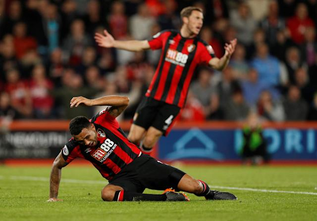 "Soccer Football - Premier League - AFC Bournemouth vs Manchester United - Vitality Stadium, Bournemouth, Britain - April 18, 2018 Bournemouth's Callum Wilson reacts Action Images via Reuters/John Sibley EDITORIAL USE ONLY. No use with unauthorized audio, video, data, fixture lists, club/league logos or ""live"" services. Online in-match use limited to 75 images, no video emulation. No use in betting, games or single club/league/player publications. Please contact your account representative for further details."