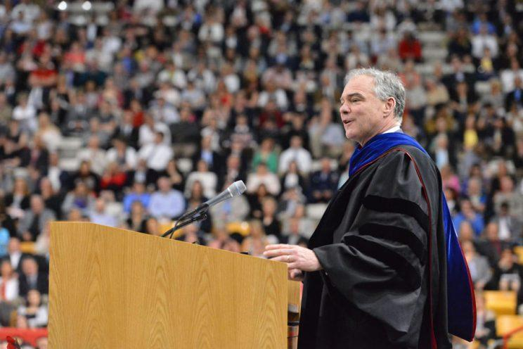 Sen. Tim Kaine speaks at Virginia Military Institute's graduation on May 16, 2016. (Photo: courtesy of VMI)