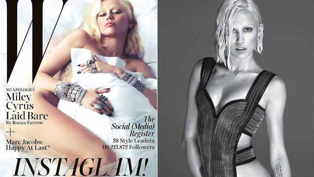 Miley Goes No Clothes, No Eyebrows for 'W'