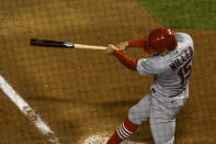 St. Louis Cardinals' Brad Miller (15) hits a home run during the fourth inning of Game 2 of a baseball doubleheader against the Chicago Cubs, Monday, Aug. 17, 2020, in Chicago. (AP Photo/Matt Marton)