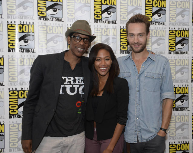 """Sleepy Hollow"" cast members Orlando Jones, Nicole Beharie and Tom Mison on Friday, July 19 at the Fox Fanfare At San Diego Comic-Con 2013."