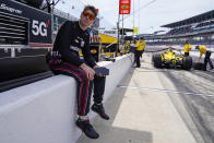 Will Power, of Australia, waits in the pit area for his car during practice for the Indianapolis 500 auto race at Indianapolis Motor Speedway in Indianapolis, Friday, May 21, 2021. (AP Photo/Michael Conroy)
