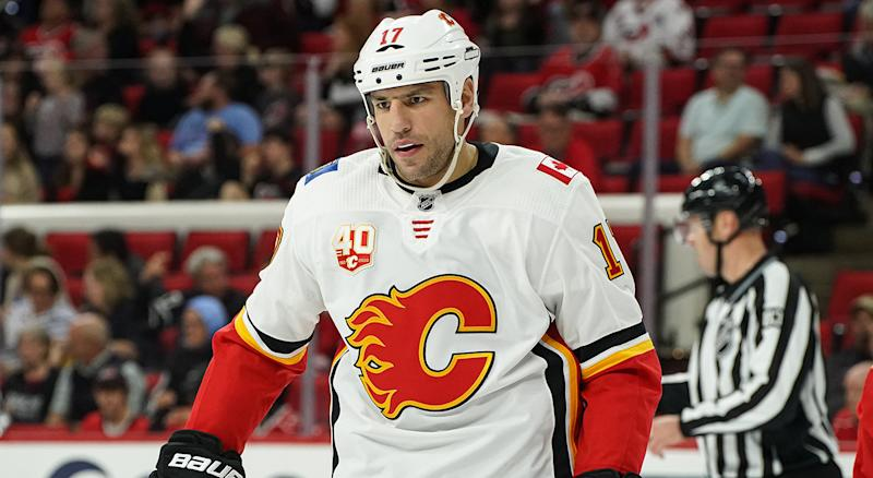 RALEIGH, NC - OCTOBER 29: Calgary Flames Left Wing Milan Lucic (17) skates during a timeout during a game between the Calgary Flames and the Carolina Hurricanes at the PNC Arena in Raleigh, NC on October 29, 2019. (Photo by Greg Thompson/Icon Sportswire via Getty Images)