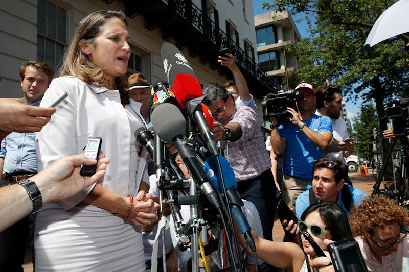 Canadian Foreign Minister Chrystia Freeland speaks to reporters during a break in trade talks at the Office of the United States Trade Representative in Washington Thursday.
