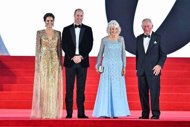 From left: Kate Middleton; Prince William; Camilla, Duchess of Cornwall; and Prince Charles attend the premiere of