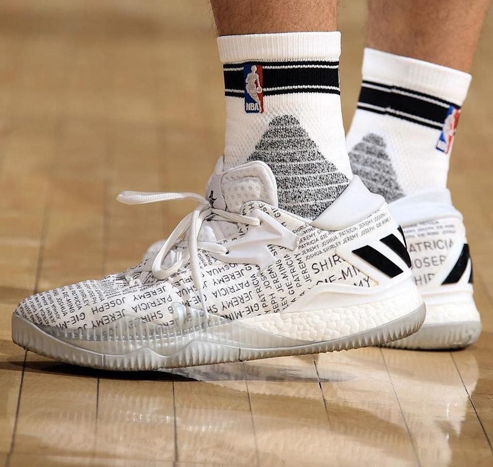 Jeremy Lin's personalized edition of his adidas Crazylight Boosts. (Getty Images)
