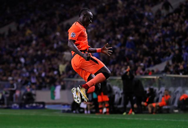Soccer Football - Champions League Round of 16 First Leg - FC Porto vs Liverpool - Estadio do Dragao, Porto, Portugal - February 14, 2018 Liverpool's Sadio Mane celebrates scoring their fifth goal and completing his hat trick Action Images via Reuters/Matthew Childs