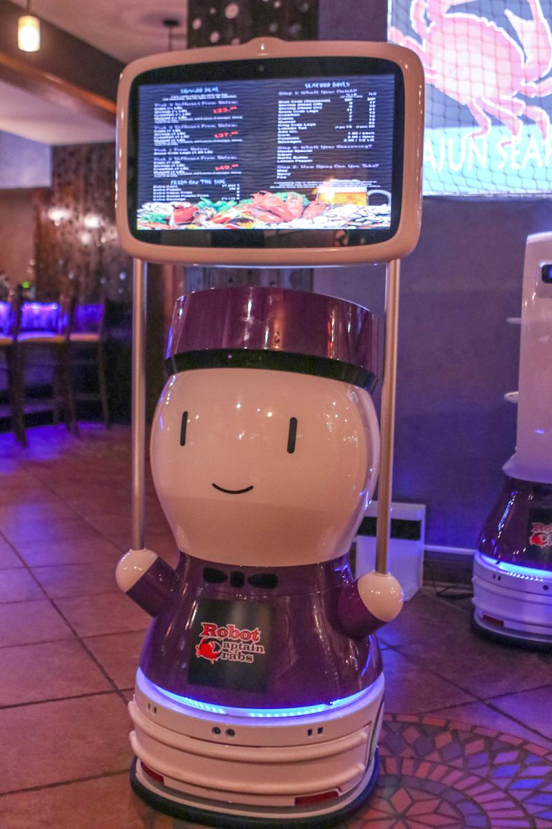 One of the robots at Robot Captain Crabs that brings customers to their table and brings out their food. The restaurant replaces the old Soffritto Italian Grill restaurant.