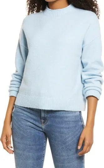 <p>A classic crewneck is like the fall fashion equivalent to a white T-shirt. Flushed in a serene sky blue, the <span>BP. Cozy Roll Crewneck Sweater</span> ($35) is at the top of our wish lists.</p>