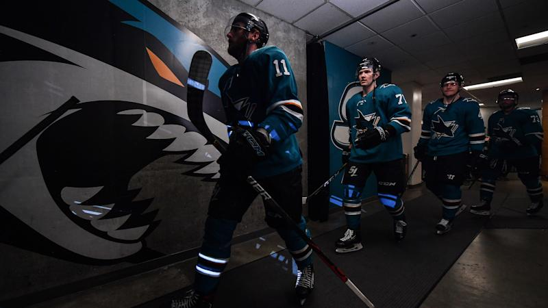 SAN JOSE, CA - MARCH 08: Stefan Noesen #11 of the San Jose Sharks walks out onto the ice to face the Colorado Avalanche at SAP Center on March 8, 2020 in San Jose, California. (Photo by Brandon Magnus/NHLI via Getty Images)