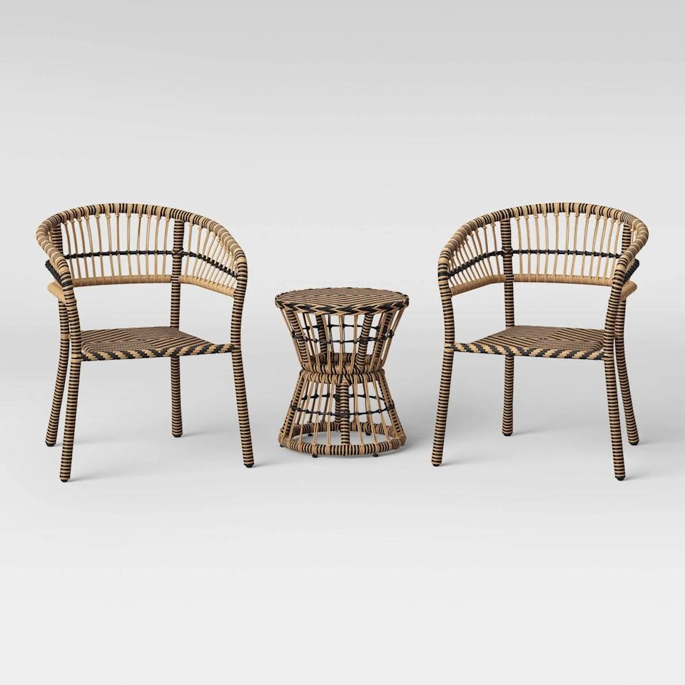 <p>If you have a lot of greenery and plants, the <span>Opalhouse Aster 3-Piece Patio Chat Set</span> ($276, originally $325) is a great lightweight contrasting set.</p>