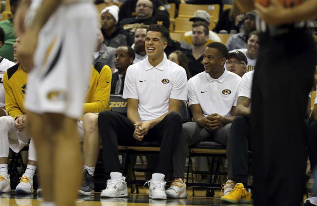 Missouri's Michael Porter Jr. laughs on the bench during the second half of an NCAA college basketball game against Miami (Ohio) Tuesday, Dec. 5, 2017, in Columbia, Mo. Missouri won 70-51. (AP Photo/Jeff Roberson)