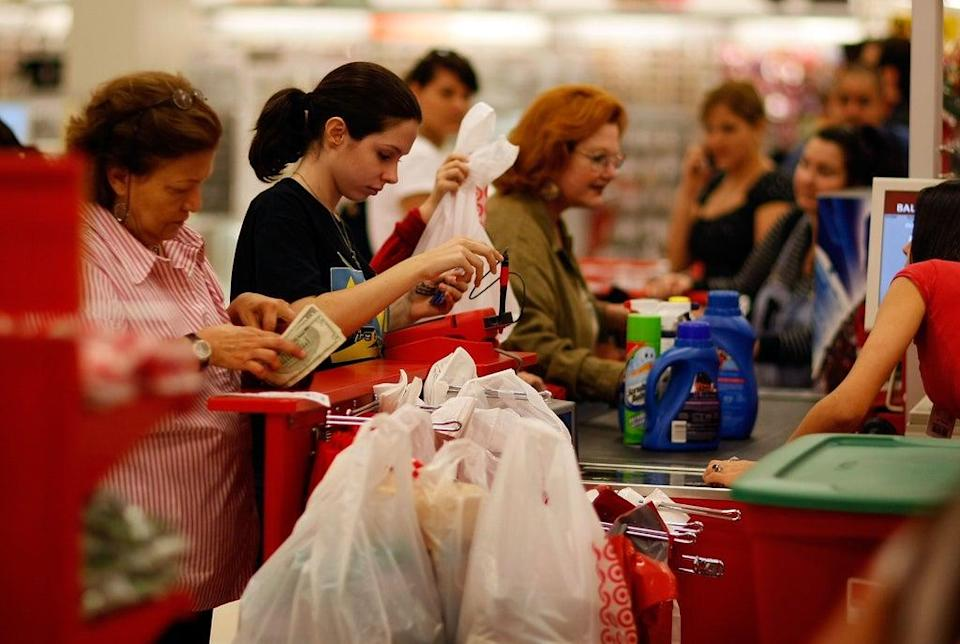 Shoppers line up at the cashiers' checkout at a Target store in Miami, Florida. (Getty Images)