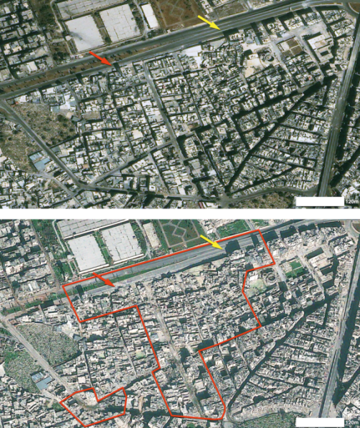 This satellite image shows some of the destruction in Aleppo, the largest city in Syria. On Sept. 9, 2012, Aleppo's Karm al-Jabal district (top) is completely intact. By Dec. 15, 2012, however, large areas of the district (outlined in red) have