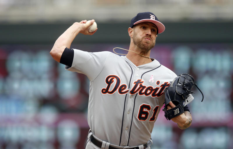 Detroit Tigers pitcher Shane Greene throws against the Minnesota Twins in a baseball game Sunday, May 12, 2019, in Minneapolis. (AP Photo/Jim Mone)
