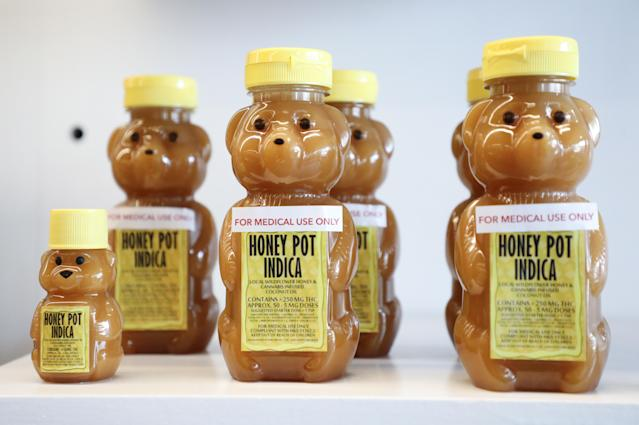 <p>Cannabis honey products rest on display in at the MedMen dispensary for recreational marijuana purchase in West Hollywood, Calif., Jan. 2, 2018. (Photo: Eugene Garcia/EPA-EFE/REX/Shutterstock) </p>